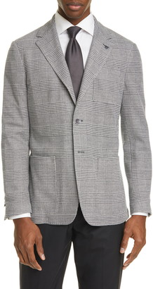 Canali Classic Fit Plaid Knit Cotton Blend Sport Coat