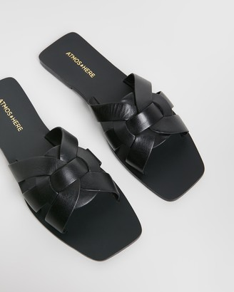Atmos & Here Syrah Leather Slides