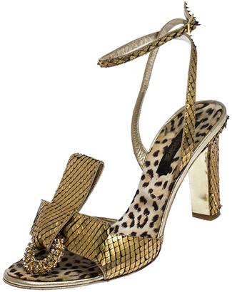 Roberto Cavalli Metallic Gold Python Leather Embellished Ankle Strap Sandals Size 38
