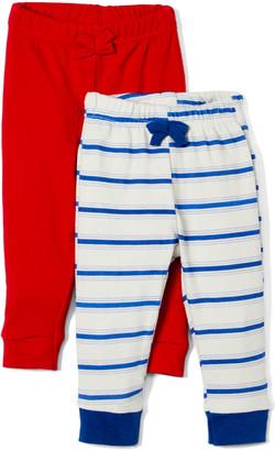Sweet & Soft Boys' Casual Pants Red - Beige & Navy Stripe Sweatpants & Red Sweatpants - Newborn & Infant