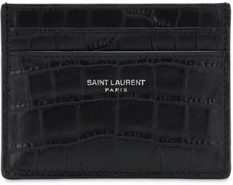 Saint Laurent Croc Embossed Leather Card Holder