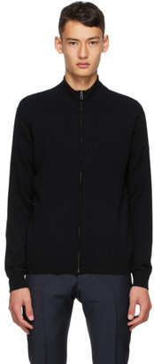 Dunhill Black Cashmere Zip Through Sweater
