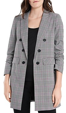 1 STATE Ruched Sleeve Plaid Blazer