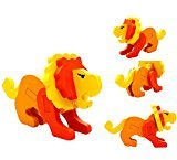 DZT1968 Baby Kids 18 Animales Montessori Mini 3D Puzzle Educational Funny Toy Wooden Colorful Jigsaw Gift (B)
