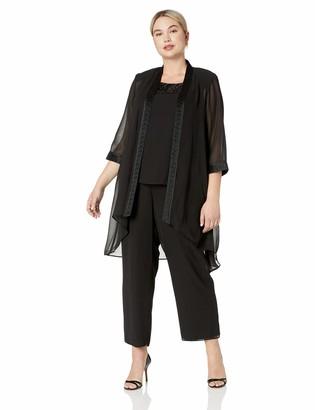 Le Bos Women's Plus Size FORTUNY Trim Long Jacket Pant Set