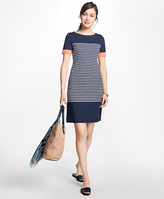 Brooks Brothers Striped Cotton Interlock Jersey Dress