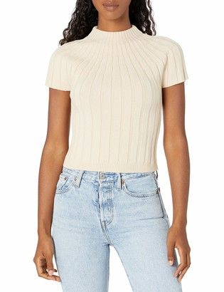 Finders Keepers findersKEEPERS Women's High Mock Neck Ribbed Short Sleeve Fitted Shell Knit Top XS