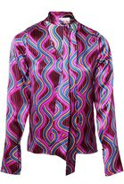 Matthew Williamson Dingolay Satin Tie-Neck Blouse
