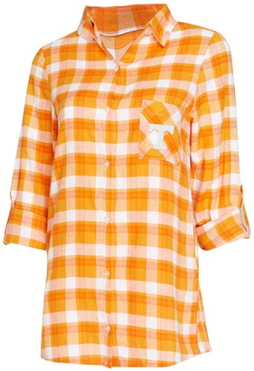 Women's Concepts Sport Tennessee Orange/White Tennessee Volunteers Piedmont Flannel Long Sleeve Button-Up Nightshirt