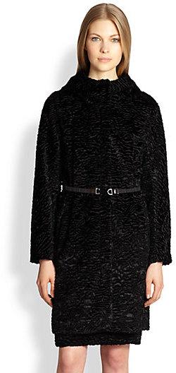 Max Mara Hooded Faux Fur Coat