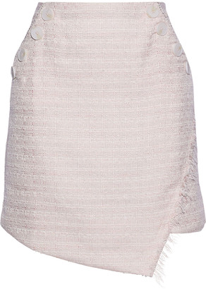 W118 By Walter Baker Avery Asymmetric Frayed Metallic Tweed Mini Skirt