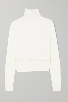 Alexander McQueen Convertible Button-detailed Wool Turtleneck Sweater - Ivory