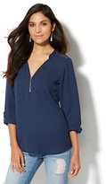 New York & Co. Soho Soft Shirt - Zip-Front Tunic - Lace Accent