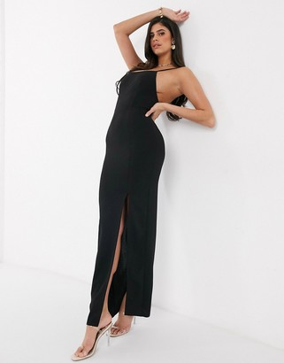 Club L London square neck thigh split tailored maxi dress in black