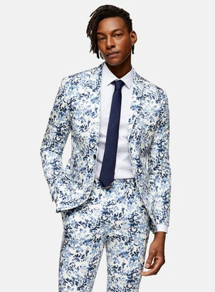 Topman Blue Floral Print Skinny Fit Single Breasted Suit Blazer With Notch Lapels