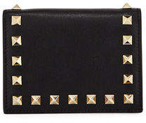Valentino Rockstud Leather Flap French Wallet