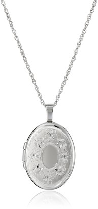 Amazon Collection Sterling Silver Oval Hand-Engraved Locket Necklace 18""
