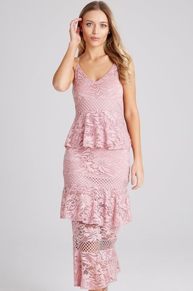 Girls On Film Born Dusty Pink Tiered-Ruffle Midi Dress
