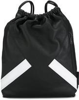 Neil Barrett stripe drawstring backpack