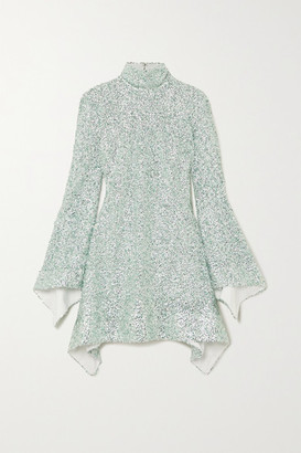 Halpern Sequined Lace Mini Dress - Mint