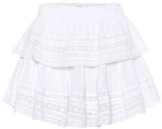 LoveShackFancy Ruffled cotton miniskirt