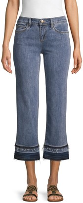 Karl Lagerfeld Paris Wide-Leg Frayed Jeans