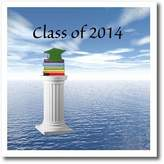 3dRose LLC ht_172616_3 Beverly Turner Graduation Design - Class of 2014 Graduation, Green Cap and Book on Pedestal - Iron on Heat Transfers - 10x10 Iron on Heat Transfer for White Material