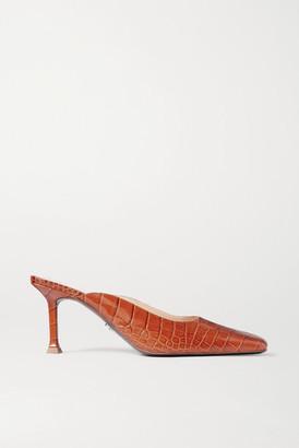 Cesare Paciotti Croc-effect Leather Mules - Tan
