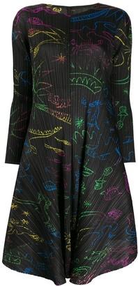 Pleats Please Issey Miyake illustration print pleated dress