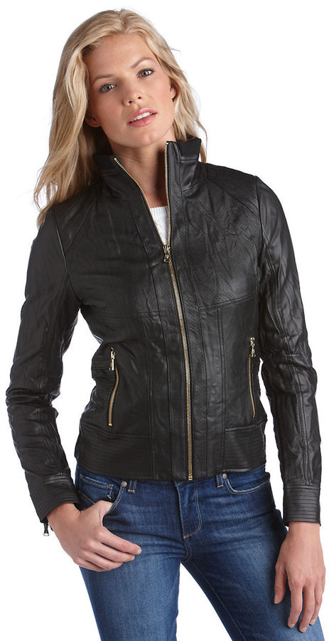 GUESS Zip Front Crinkle Jacket