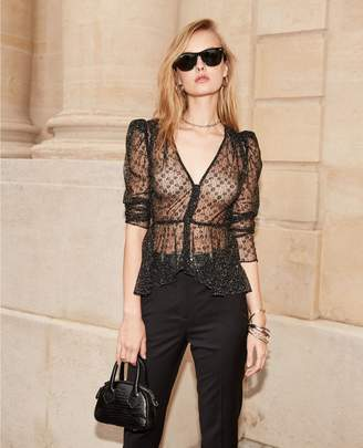 The Kooples Buttoned black lace top with sequins