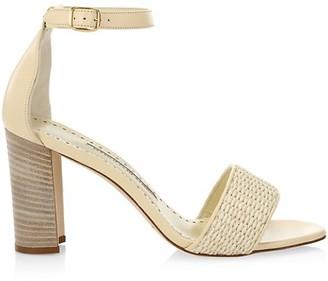 Manolo Blahnik Laura Topri Woven Raffia & Leather Sandals