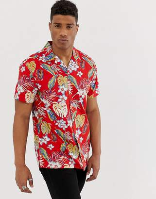 Jack and Jones Originals revere collar shirt with all over print in red
