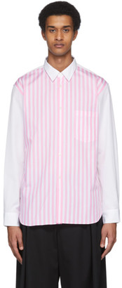 Comme des Garcons White and Pink Striped Shirt