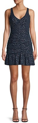 BCBGeneration Shirred Polka Dot Mini Dress