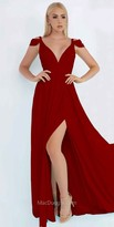 Mac Duggal Plunging Peekaboo Shoulder Chiffon Slit Dress