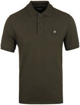 Cp Company Khaki Pique Short Sleeve Polo Shirt