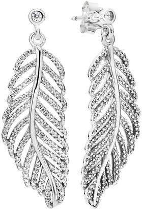 Pandora Silver Cz Shimmering Feathers Earrings