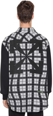 Off-White Off White OVER CONTRAST SLEEVE CHECK COTTON SHIRT