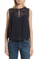 Rebecca Taylor Women's Sheer Embroidered Silk Top