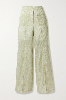 ANDERSSON BELL Messi Printed Cotton-blend Voile Wide-leg Pants - Light green