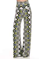2LUV Women'sMix Print High Waisted Wide Leg Palazzo Pants L (06R-B907A(Yellow))