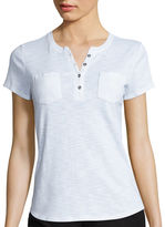 Liz Claiborne Short-Sleeve Cotton Henley Tee