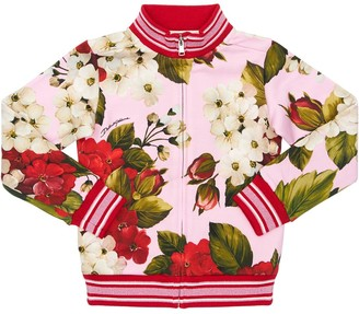 Dolce & Gabbana Geranium Print Zip-Up Cotton Sweatshirt