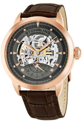 Stuhrling Original Stainless Steel Rose Tone Case on Brown Alligator Embossed Genuine Leather Strap, Gray Skeletonized Dial, With Rose Tone Accents