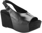 Antelope Black Open-Toe Slingback Leather Wedge Sandal