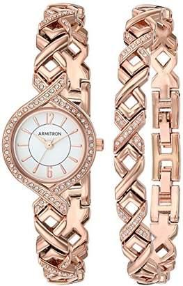 Armitron Sport Armitron Women's 75/5412WTRGST Swarovski Crystal Accented -Tone Watch and Bracelet Set