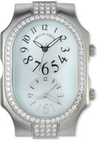 Philip Stein Teslar Large Signature Dual Time Zone Watch Head w/ Diamonds, 1.64tcw, Silver/Mother-of-Pearl