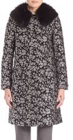 Michael Kors Fur-Collar Floral Jacquard Coat