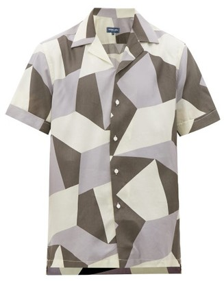 Frescobol Carioca Modernist Geometric-print Cuban-collar Shirt - Grey Multi